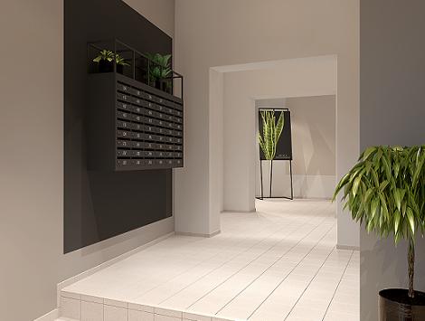 Lagom Lofts koridoriaus vizualizacija, Ausrine Studio 3D