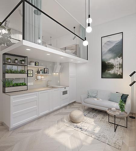 Lagom Lofts įrengto pavyzdinio lofto vizualizacija